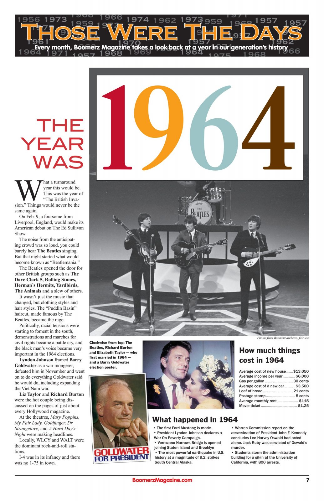 A look back at a year in our generations history year 1964