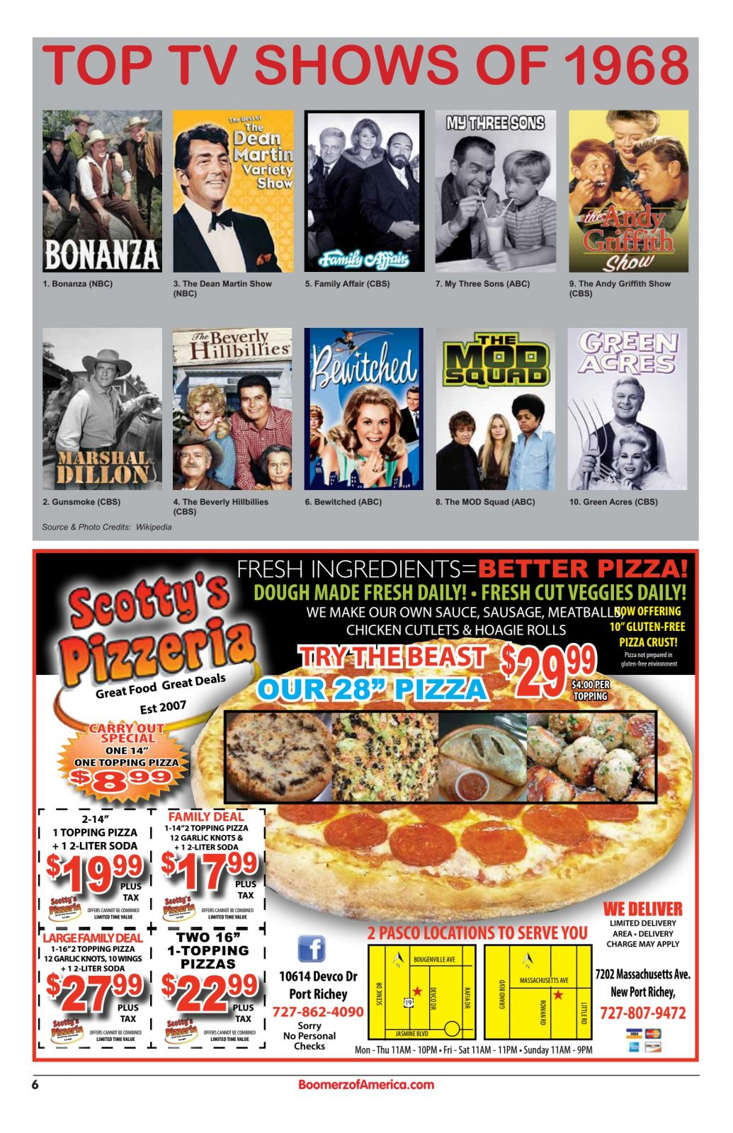 Top TV Shows of 1968 - Scotty's Pizzeria