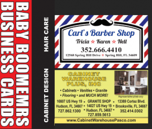 Sideward Boomers Business Cards - Carls Barber Shop - Cabinet Warehouse Plus