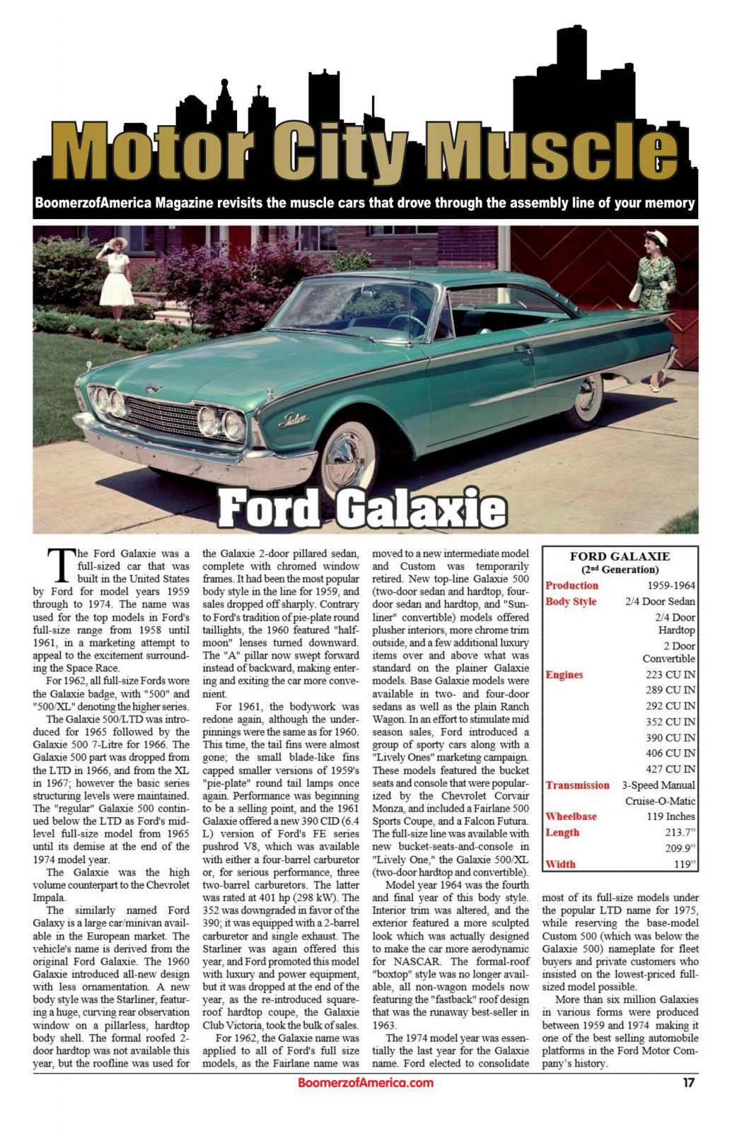 Motor City Muscle 1960 Ford Galaxie - Boomerz of America June 2019