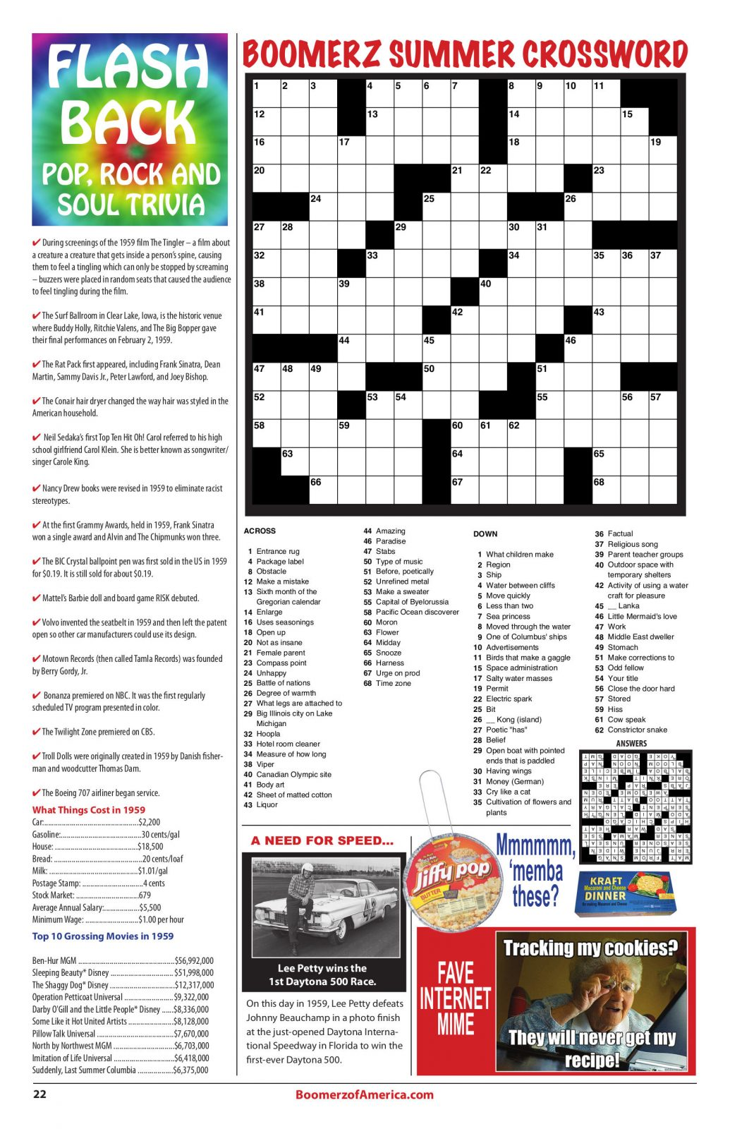 07-July-2019 Boomerz of America 1959 Crossword Puzzel