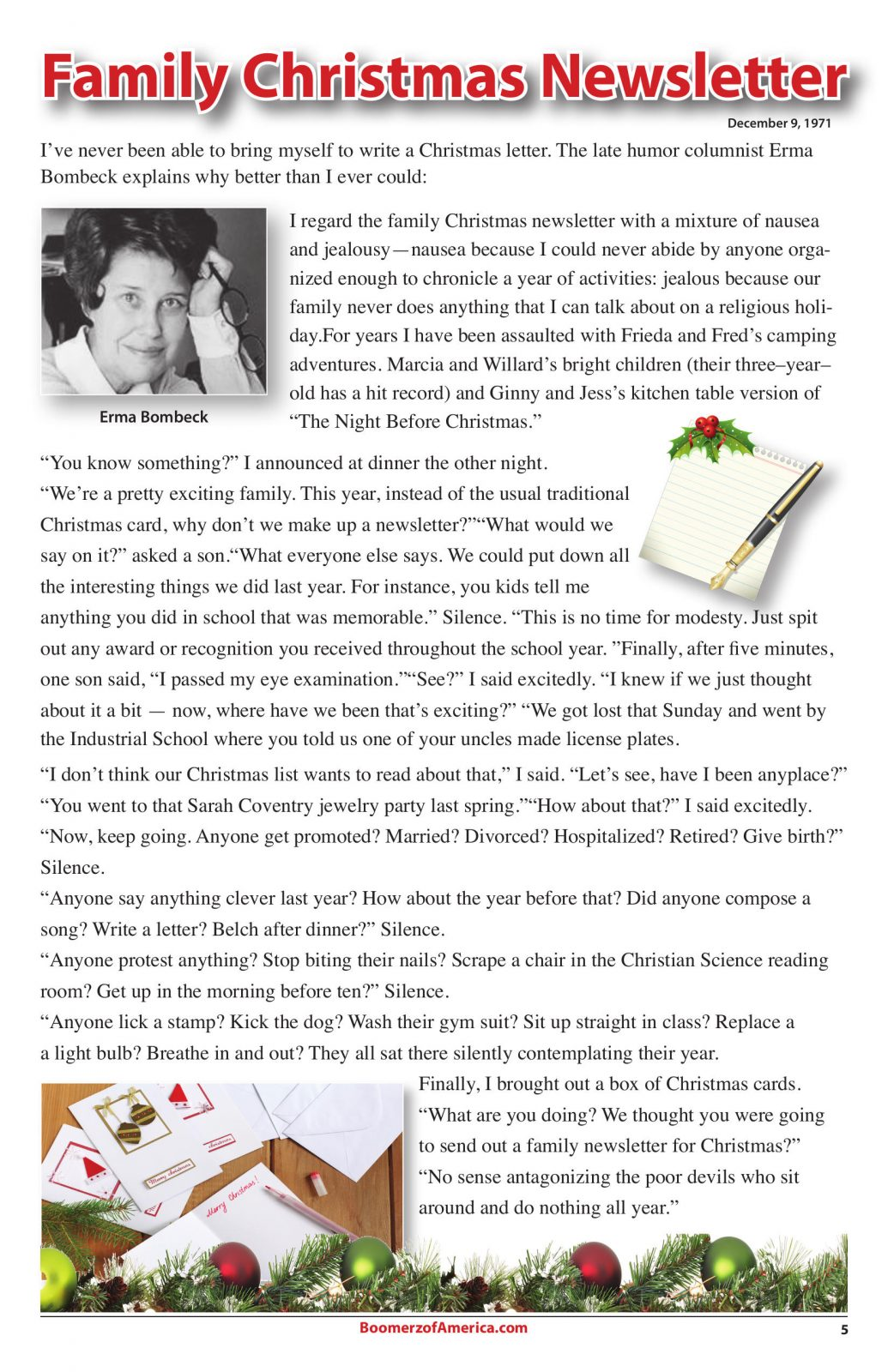 07-July-2019 Boomerz of America Erma Bombeck Family Christmas Newsletter