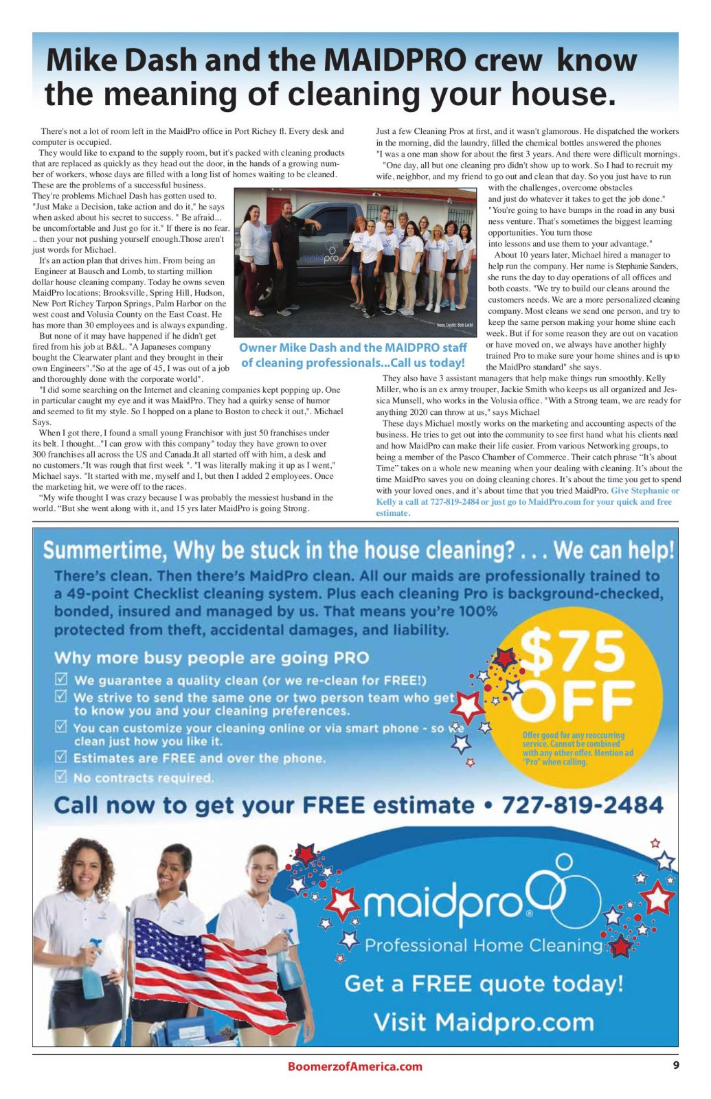 07-July-2019 Boomerz of America MaidPro Article and Ad