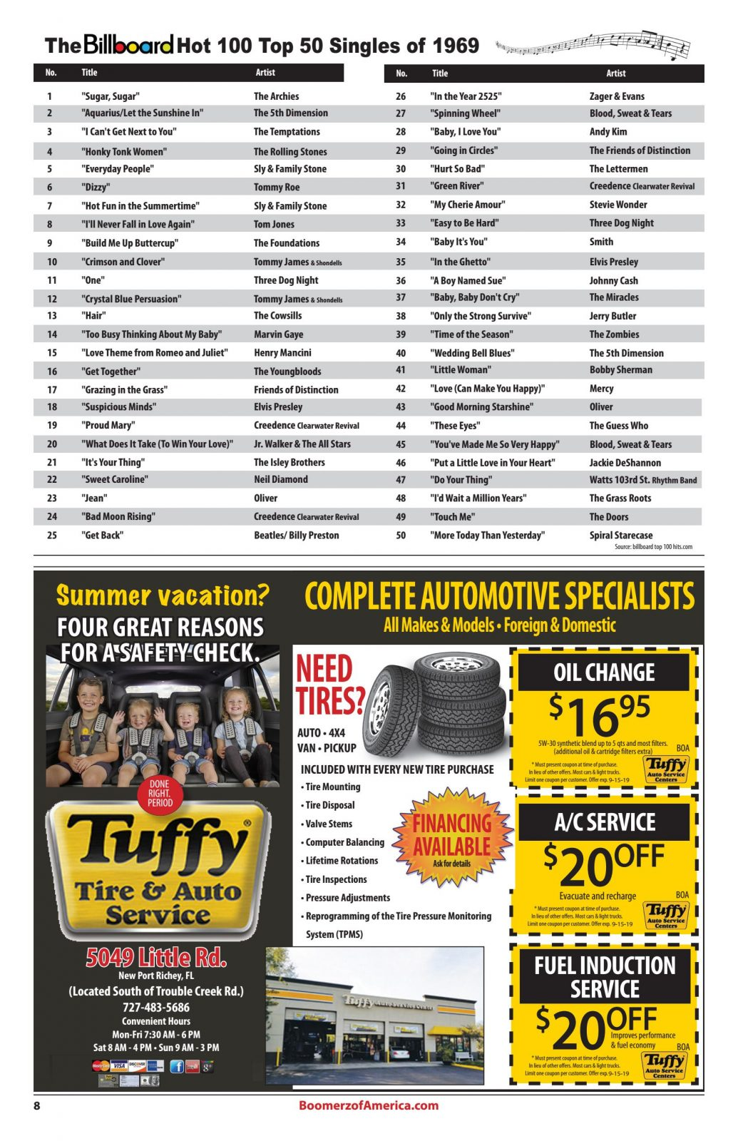 Boomerz August 2019 Billboard top 50 of 1969 Tuffy Auto