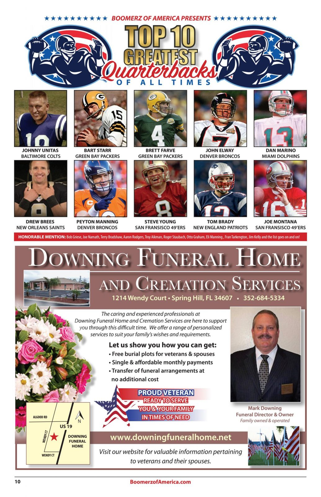 Boomerz August 2019 Top-10 Greatest Quarterbacks Downing Funeral Home