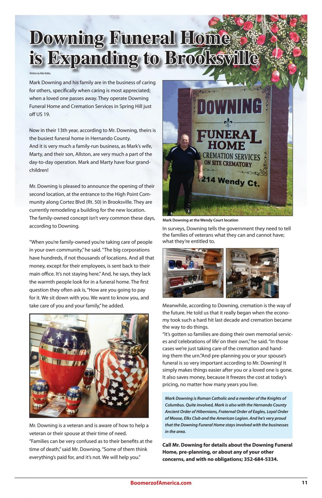Boomerz August- 019 Downing Funeral Home Article