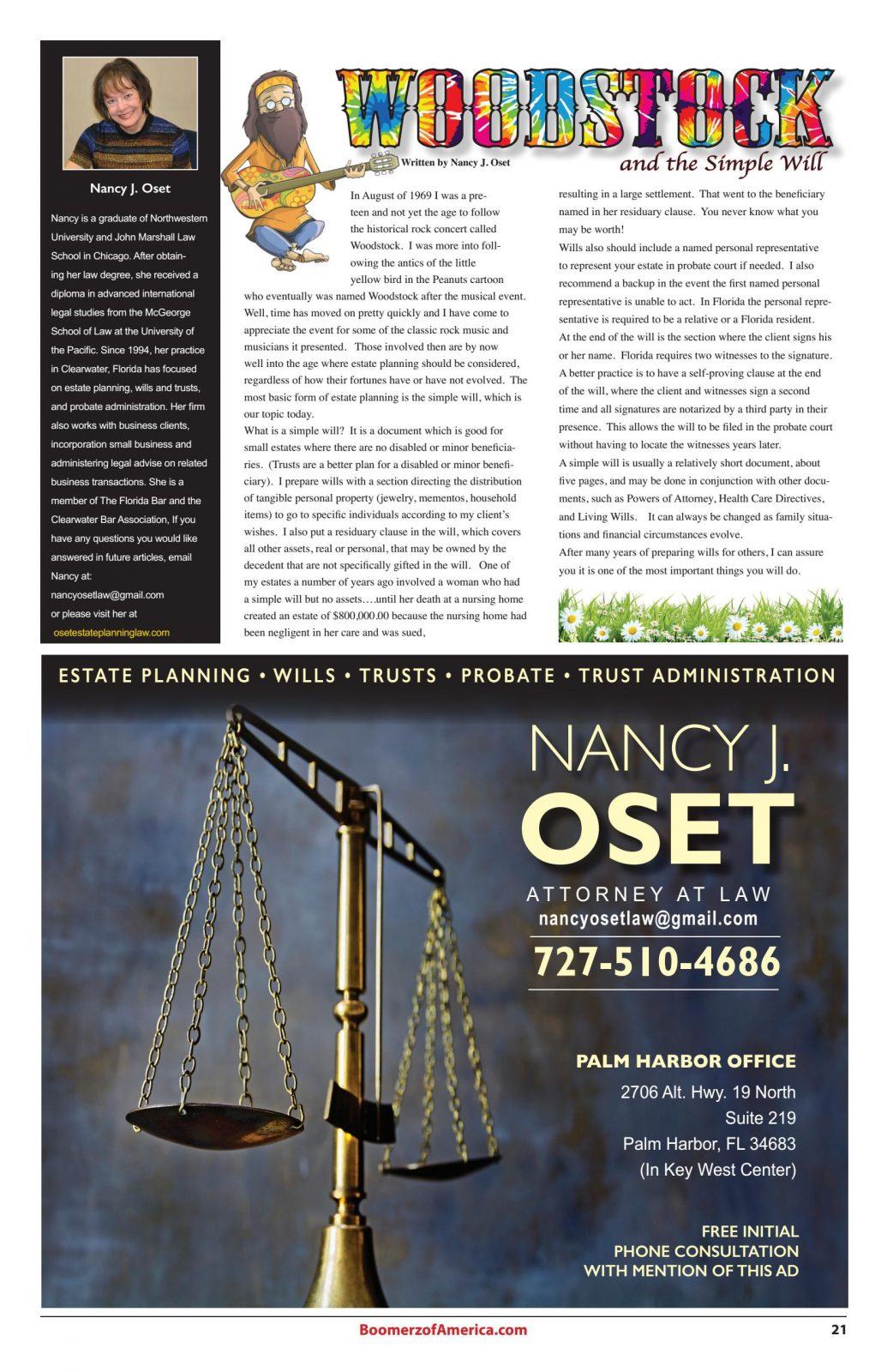 Boomerz August 2019 Nancy Oset Woodstock