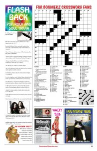 Boomerz August 2019 Flash Back Pop Rock and Soul Triva Crossword Puzzle
